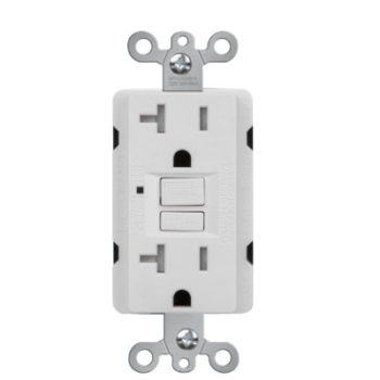 20 Amp Self-Test Duplex GFCI Receptacle with LED Light