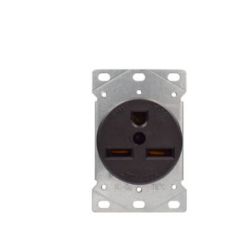 30 Amp Flush Mount Power Outlet 250 Volt-Black