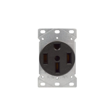 50 Amp Flush Mount Range Outlet 125/250 Volt-Black
