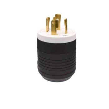 30 Amp, 125/250 Volt Grounding Locking Plug-Black