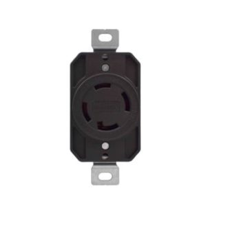 30 Amp 125V  Flush Mount Single Locking Receptacle-Black