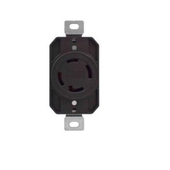 30 Amp, 250 Volt Locking Receptacle-Black