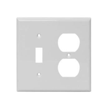 2 Gang, Plastic, 1 Toggle Switch & 1 Duplex Receptacle Combination Wall Plate