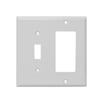 2 Gang, Plastic, 1 Toggle Switch & 1 Decorative Combination Wall Plate