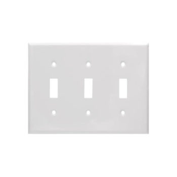 3 Gang STD Smooth Metal Toggle Switch Wall Plate