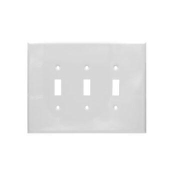 3 Gang Jumbo Smooth Metal Toggle Switch Wall Plate