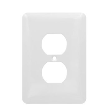 1 Gang MID Smooth Metal Duplex Receptacle Wall Plate