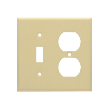 2 Gang STD Wrinkle Metal Toggle Switch & Duplex Receptacle Wall Plate-IV