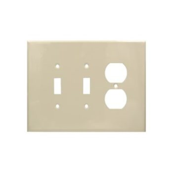 3 Gang Jumbo Smooth Metal Single Switch & Duplex Receptacle Wall Plate-IV