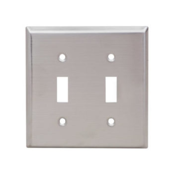 2-Gang Stainless Steel Toggle Switch Wall Plate
