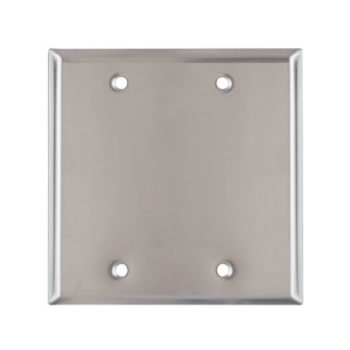 2-Gang Stainless Steel Blank Wall Plate