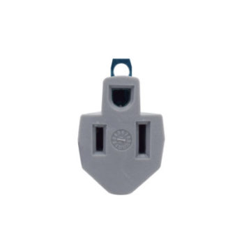 15 Amp 2-Wire Single to Single Outlet Grounding Gray Adapter