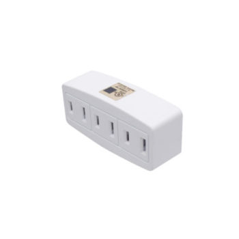 15A 2-Wire Single to Triple Outlet White Adapter