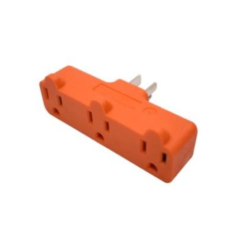 15 Amp 3-Wire Single to Triple Outlet Grounding Orange Adapter